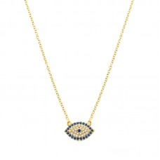 YELLOW GOLD EVIL EYE NECKLACE (Ν6)