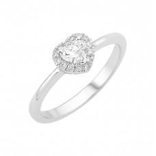 Δαχτυλίδι Μονόπετρο με Διαμάντι Καρδιά Λευκόχρυσος Κ18