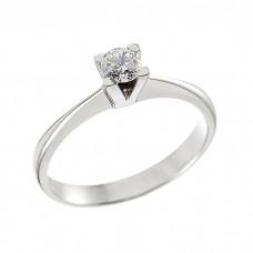 Δαχτυλίδι Μονόπετρο με Διαμάντι Λευκόχρυσος Κ18