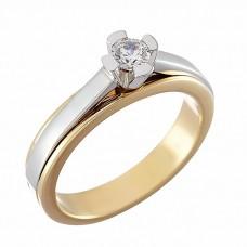 Δαχτυλίδι Μονόπετρο με Διαμάντι Δίχρωμο  Κ18