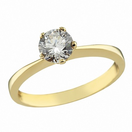 Δαχτυλίδι Μονόπετρο με Ζιργκόν Χρυσός Κ14