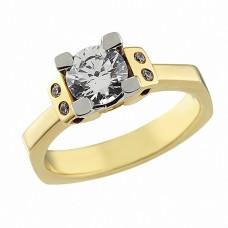 Δαχτυλίδι Μονόπετρο με Ζιργκόν Δίχρωμο Κ14