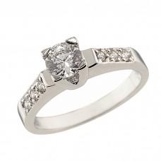 Δαχτυλίδι Μονόπετρο με Ζιργκόν Λευκόχρυσος Κ14
