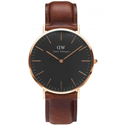 Daniel Wellington Classic Black St Mawes Rose Gold Brown Leather Strap DW00100124